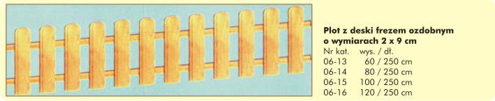 Płot z deski 2x9cm frezem ozdobnym
