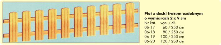 Płot z deski 2x9cm z frezem ozdobnym 2